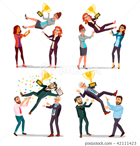 Winner Business People Set Vector. Man, Woman. Throwing Colleague Up. Colleague Celebrating Goal 42111423
