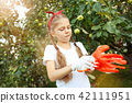 The happy young girl during picking apples in a garden outdoors 42111951