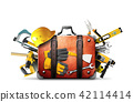 Construction tools and helmet in a bag 42114414
