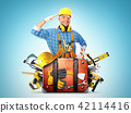 Construction tools and helmet in a bag 42114416