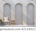 empty walls with arch panel 3d render 42116421