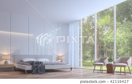 Modern white bedroom minimal style 3d render 42116427