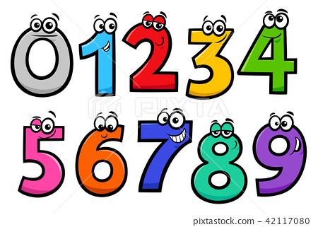 basic numbers cartoon characters set 42117080