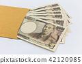 Japanese banknote 10,000 yen in brown envelope  42120985
