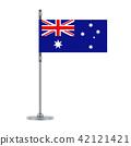 Australian flag on the metallic pole, vector 42121421