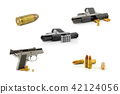 9 mm Black handgun isolated on a white background. 42124056