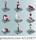 Stomatology color gradient isometric set 42125877