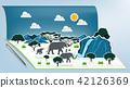 Pop-up book with africa savanna elephant family 42126369