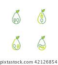 Avocado fruit icons outline stroke set design 42126854