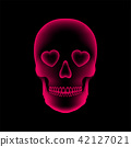 Skull X-ray with Heart eye symbol, love concept 42127021