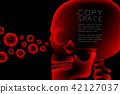 Skull X-ray with Microscope Disease cells concept 42127037