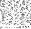 Carpenter equipment tool and stump, timber symbol 42127621