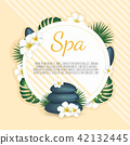 Spa banner withPlumeria flowers and zen stone. Vector illustration 42132445