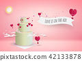 valentine's day cake with heart flowers 42133878