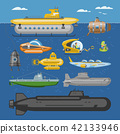 Submarine vector sea pigboat or marine sailboat underwater and ship transport in deep ocean 42133946