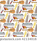 Music production seamless pattern background musical equipment vintage instrument electric guitar 42134016