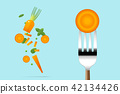 Fresh carrot on fork with flying carrots 42134426
