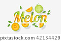 Word melon design in paper art style 42134429