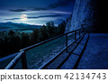 castle wall and railing on a hill at night 42134743