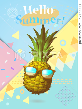 Pineapple illustration on colorful BG for summer 42135554