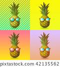 Pineapple with sunglasses on pop art BG 42135562