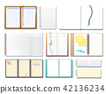 Set of open realistic notebooks with pages diary office sheet template booklet and blank paper 42136234