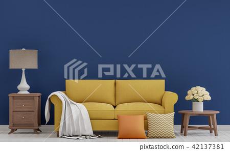 Colorful vintage living room 3d render 42137381
