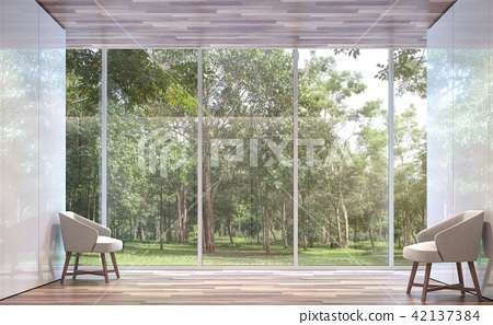 Empty room modern space with nature view 3d render 42137384