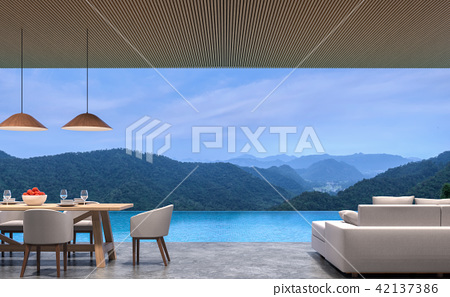 Loft style pool villa with mountain view 3d render 42137386
