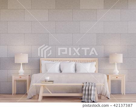 Modern bedroom interior 3d render 42137387