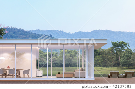 Modern white house with lake view 3d render 42137392