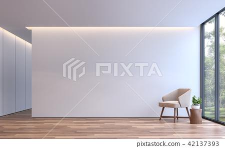 Modern white living minimal style 3d render 42137393