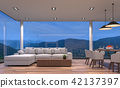 Night scene living and dining room 3d render 42137397