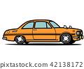 國內減速火箭的跑車橙色汽車例證 42138172