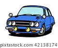 國內減速火箭的跑車藍色汽車例證 42138174