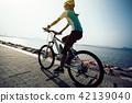 female cyclist riding mountain bike on seaside 42139040