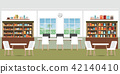 Modern library interior with bookshelves. 42140410