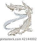 Carp fish hand drawn vector. Japanese pattern  42144002