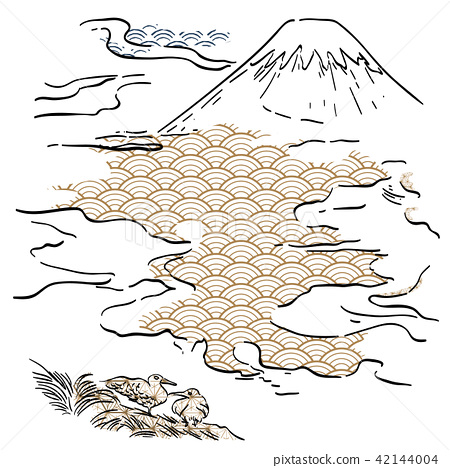 Fuji mountain hand drawn vector with Japanese line 42144004