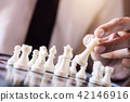 Hand of confident businessman use king chess piece white playing 42146916