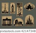 Vintage paper landmarks travel labels 42147348