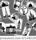 Vintage paper landmarks travel labels seamless 42148228