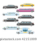 Limousine vector limo luxury car and retro auto transport and vehicle automobile illustration set of 42151009