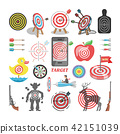 Target icon vector arrow in aim of dartboard and goal of success business strategy illustration set 42151039