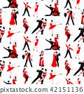 Couples dancing latin american romantic person people dance man with woman tango pose seamless 42151136