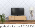 3D rendering of interior living room with Smart TV 42151151