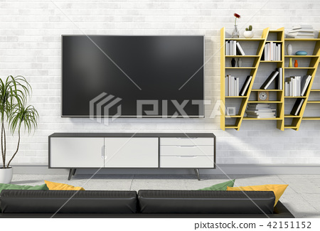 3D rendering of interior living room with Smart TV 42151152
