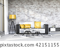 Living room interior in modern style, 3d render 42151155