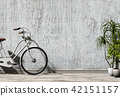 Minimal, old interior with plant, a bicycle agains 42151157