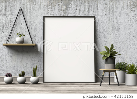 Mock up poster in interior with plant. 3D renderin 42151158